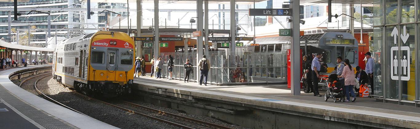 Photograph of train pulling into Parramatta Railway Station