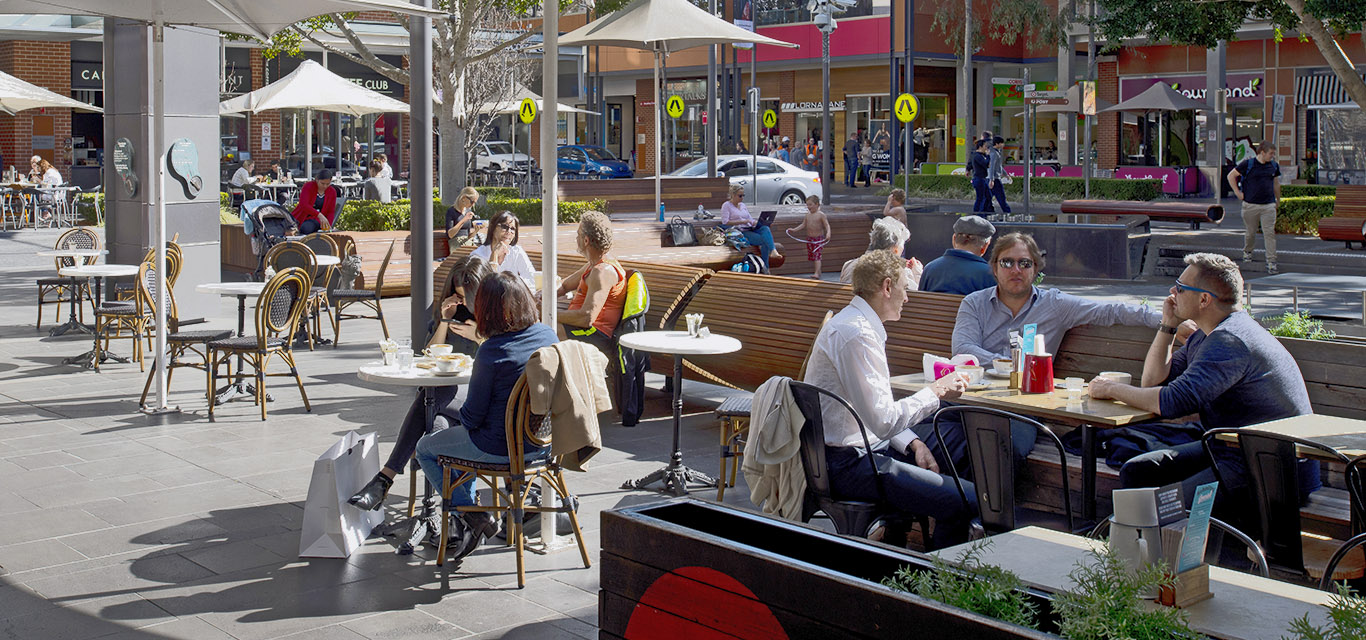 Photograph of people dining at outdoor restaurant in Rouse Hill