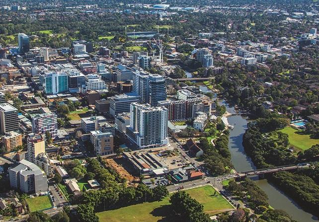 Aerial view of Parramatta CBD