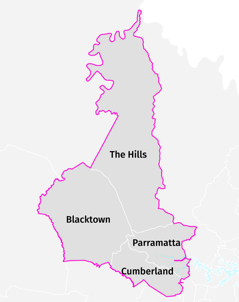 A map showing the boundary of the district and the boundaries of the four different local government areas within the district.