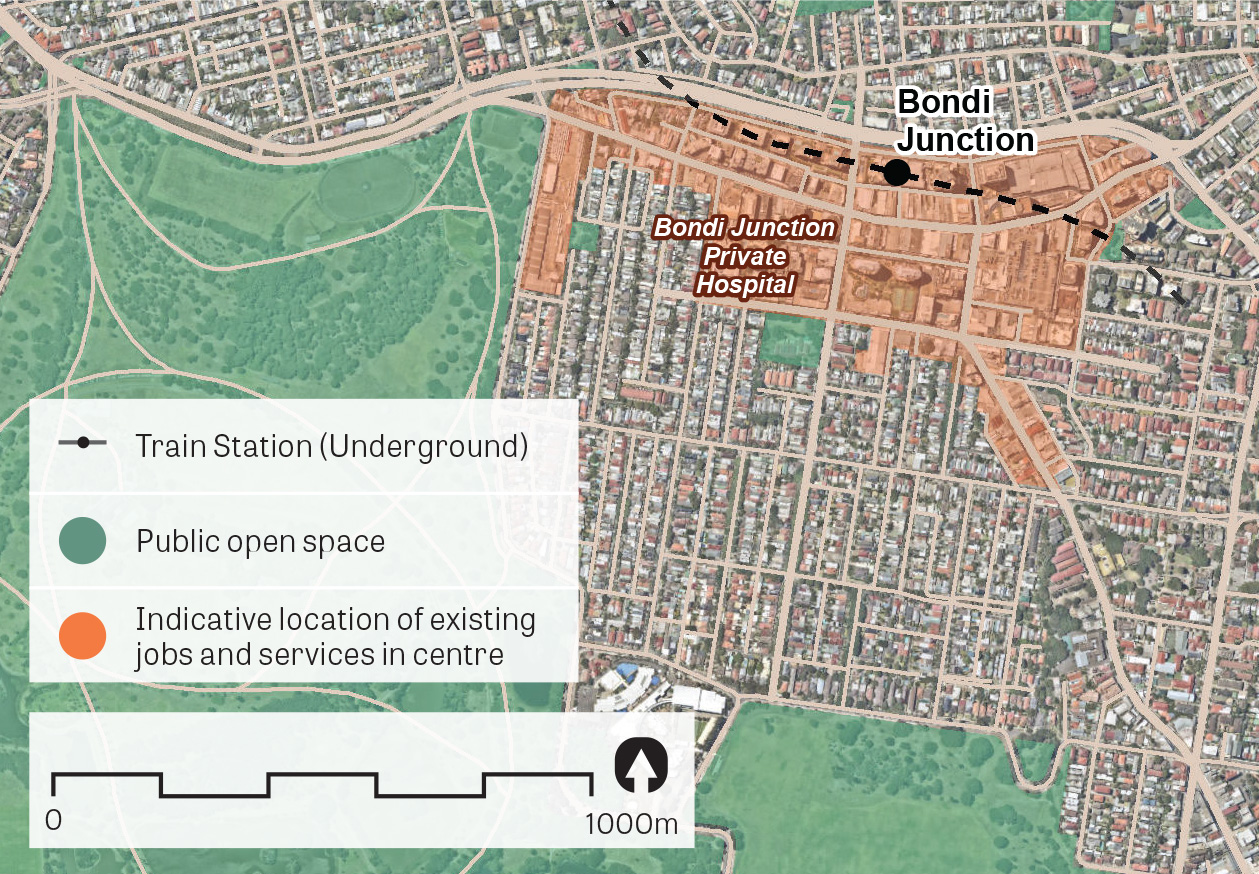 An aerial image of Bondi Junction showing the principal areas containing jobs and services.