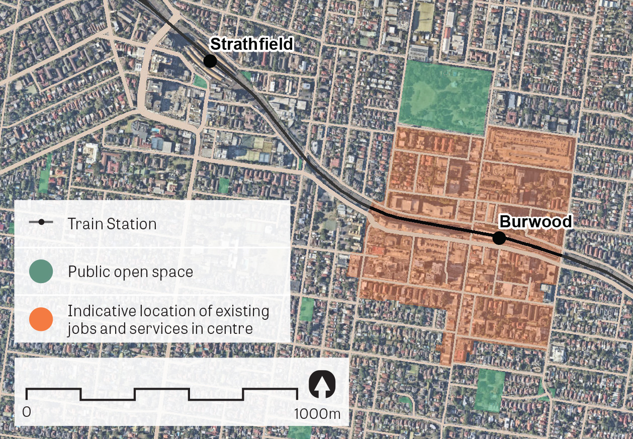 An aerial image of Burwood showing the principal areas containing jobs and services.