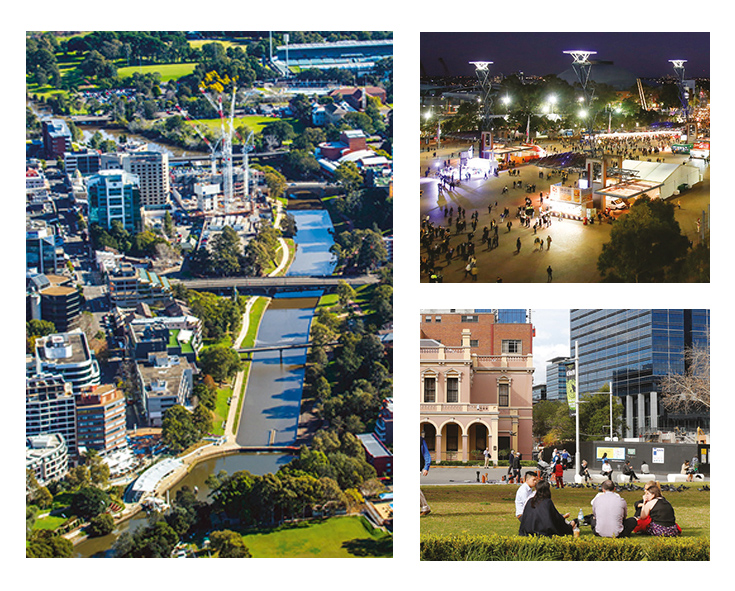 A photo of a group of people sitting in Parramatta Square, an aerial photograph of buildings and Parramatta River and an aerial photograph of night time event at Sydney Olympic Park