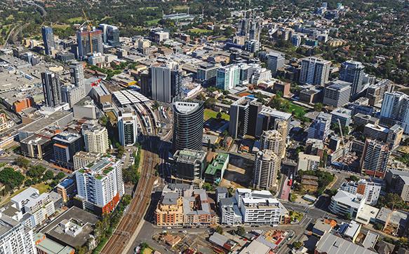 Aerial photo of Parramatta CBD including the Parramatta interchange and surrounds