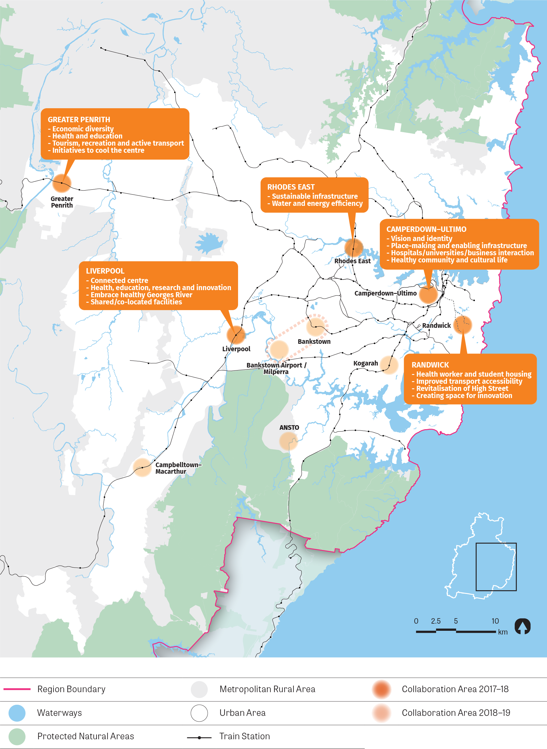 Figure 9: Map showing location of Greater Penrith, Rhodes-East, Camperdown-Ultimo, Liverpool and Randwick Collaboration Areas.
