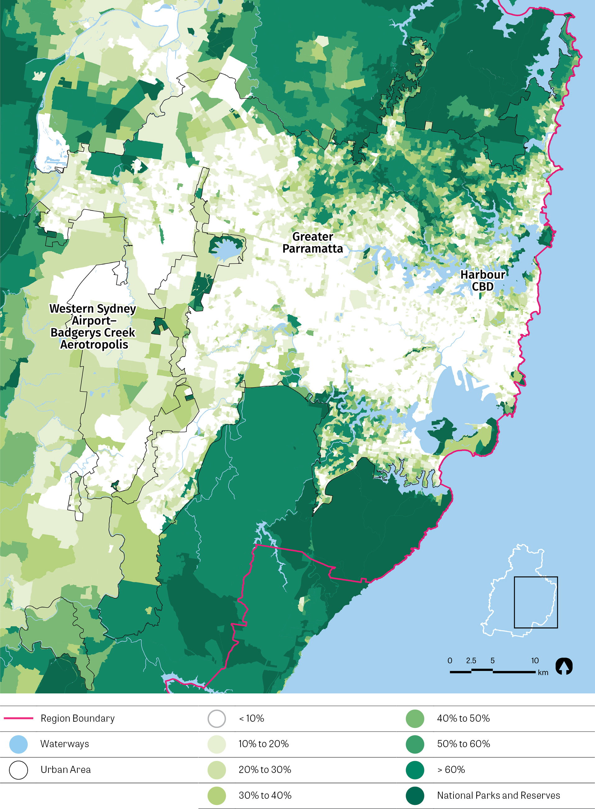 Map showing Greater Sydney tree canopy cover as at 2011. Cover ranges from 0% to >60% and National Parks and Reserves.