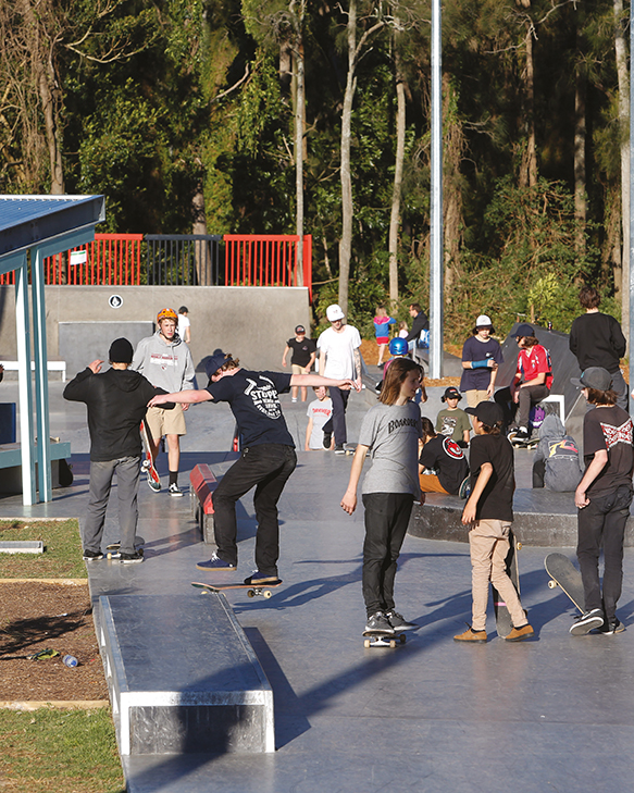 A photo showing young people at a skate ramp at Mona Vale.
