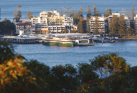 A photograph of overlooking the ferry terminal at Manly.