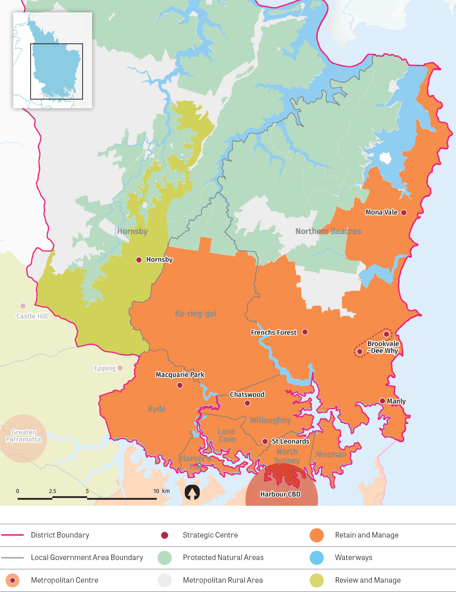 Map depicting industrial land approaches in the district. The map also shows waterways, protected natural areas, metropolitan rural areas and local government area boundaries.