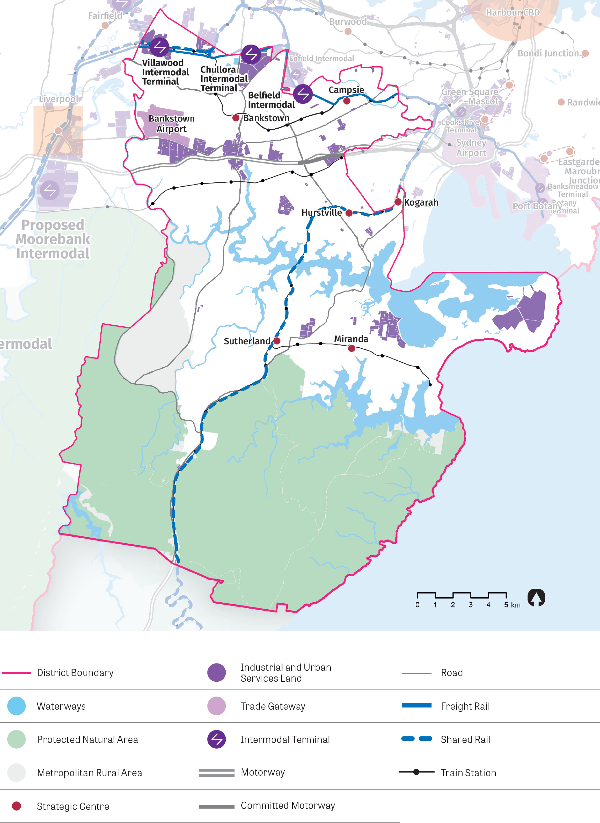 Map depicting distribution of industrial and urban services land, trade gateway and intermodal facilities. The map also shows waterways, protected natural areas, metropolitan rural areas, strategic centres, roads and freight and/or shared rail lines.