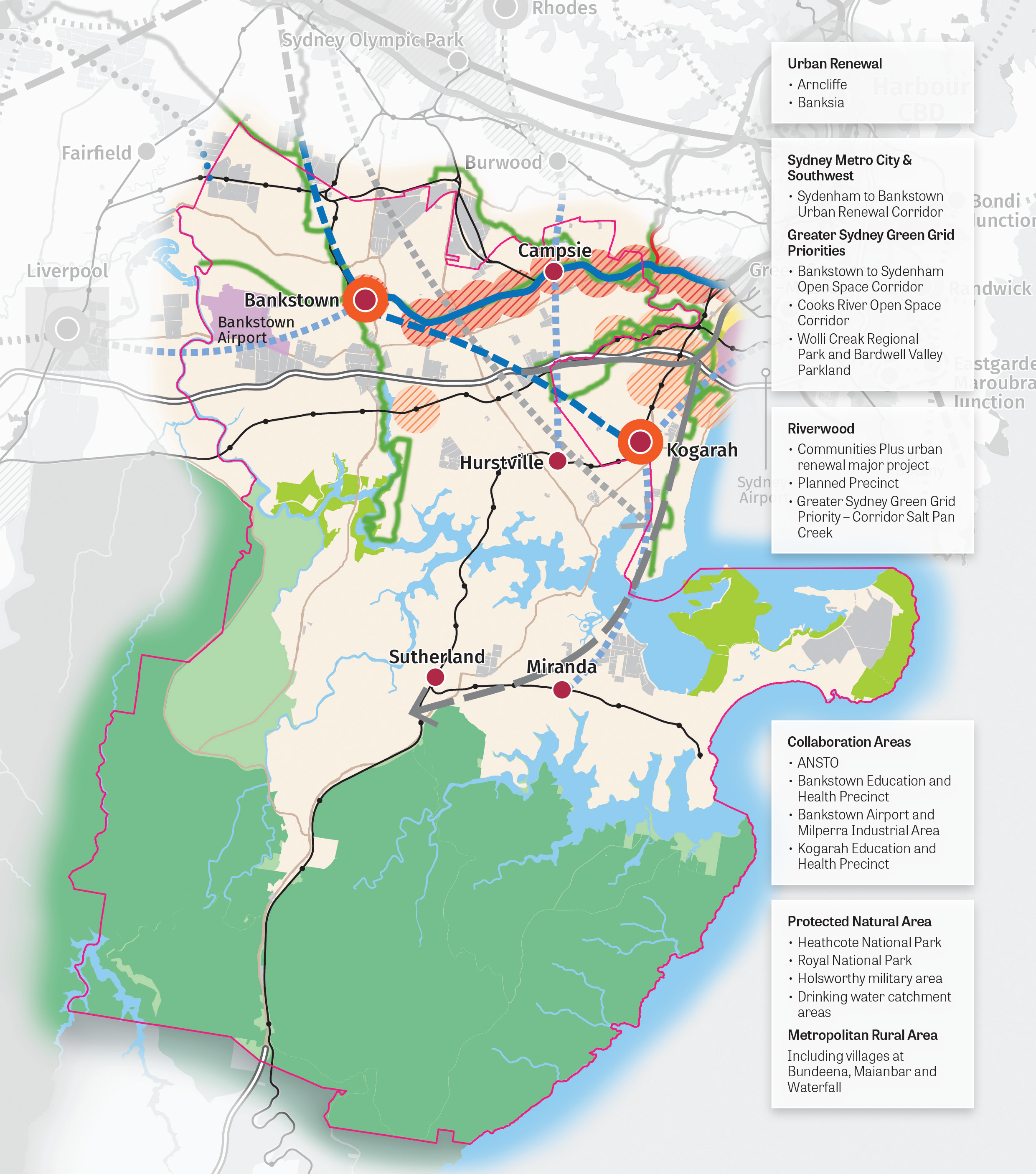 Illustrated map of the South District showing areas of urban renewal, Sydney Metro city & southwest, greater Sydney green grid priorities, plans for development in Riverwood, collaboration areas, protected natural areas and metropolitan rural areas.