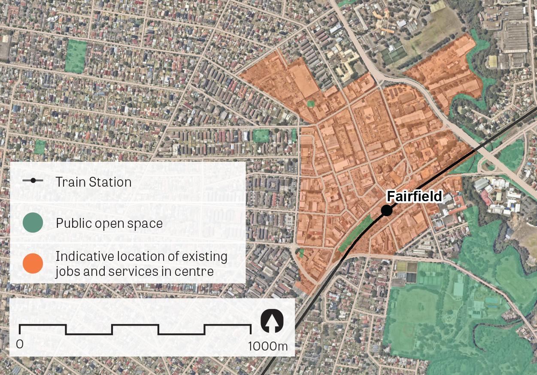 """An aerial image of Fairfield.  Data sources: Public open space - Sydney Open Space Audit (DPE 2016), aerial photo - Nearmap 2018."""