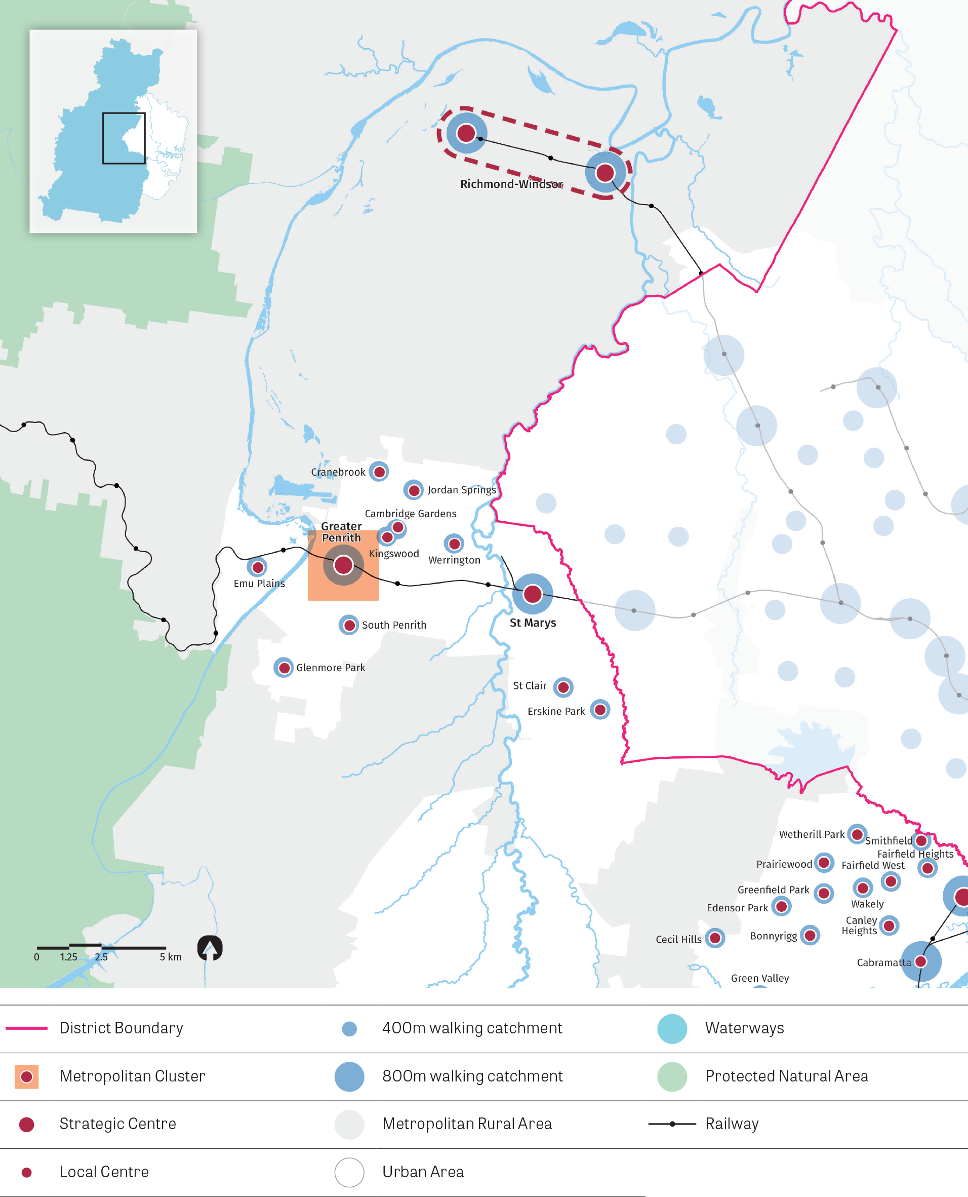 """""""Figure 13:  Map of Western City District (north) - centres.  This map illustrates the approximate 5 minute walking catchment around local centres serviced by local transport and the approximate 10 minute walking catchment around a centre focused on a mas"""