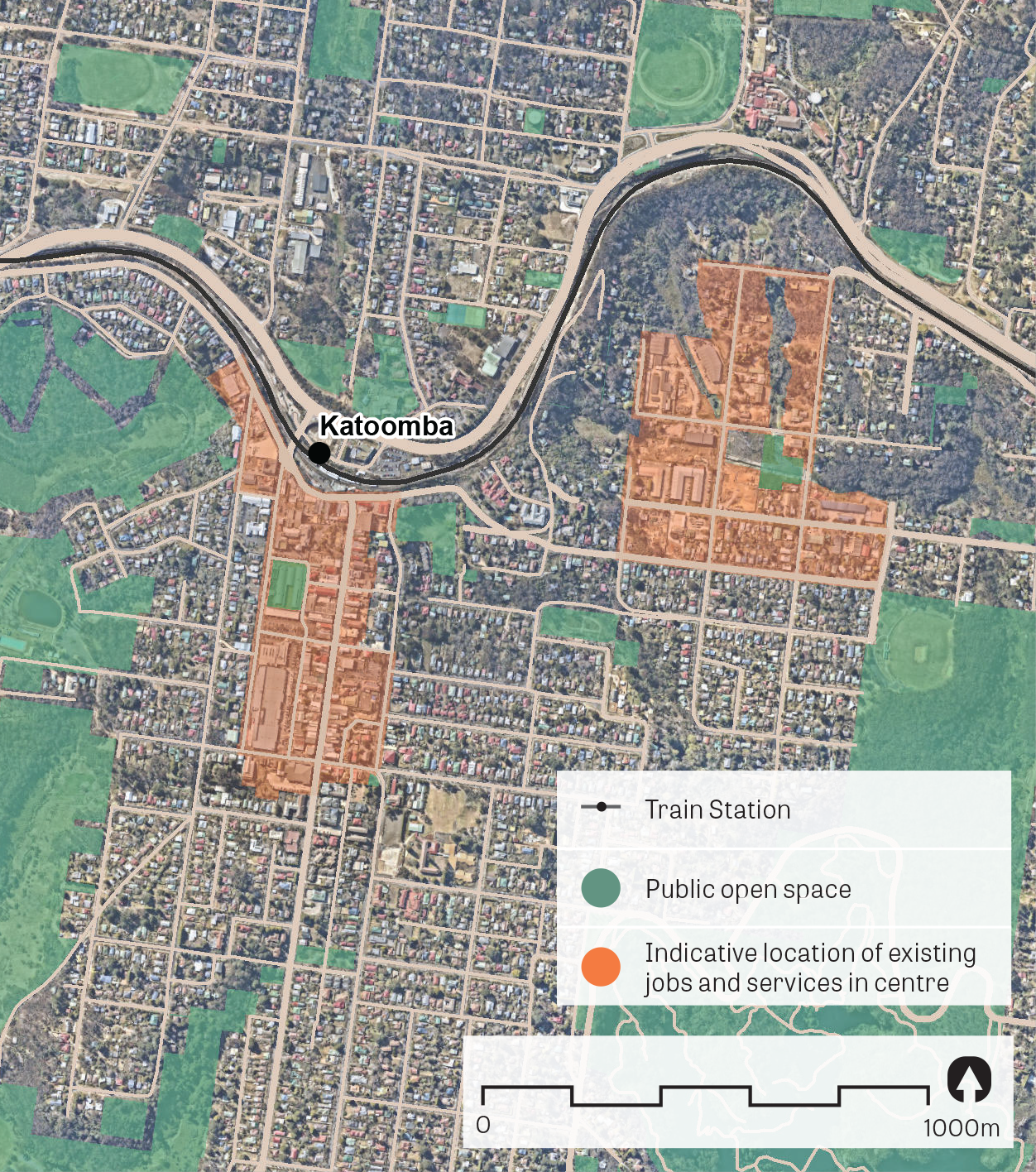 """""""An aerial image of Katoomba.  Data sources: Public open space - Sydney Open Space Audit (DPE 2016), aerial photo - Nearmap 2018."""""""